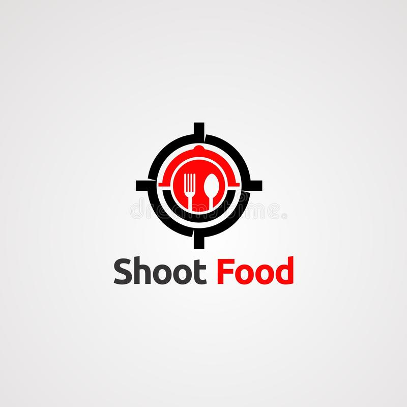 Shoot target food with spoon and fork logo vector concept, icon, element, and template for company. Shoot target food with spoon and fork logo vector concept royalty free illustration