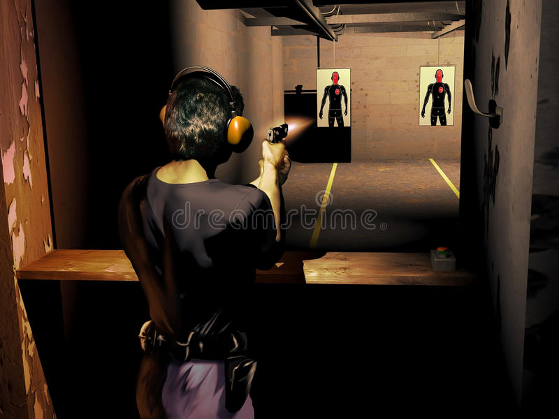 Shoot training. Police officer shooting at human-shape silhouette as target into the training room royalty free illustration