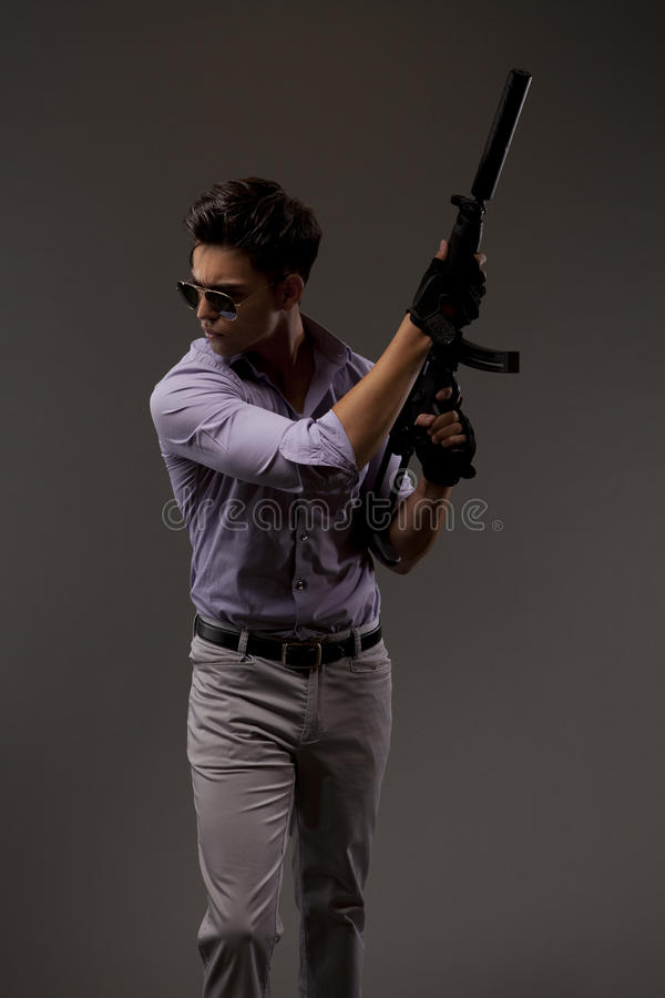 Shooter with automatic rifle royalty free stock images