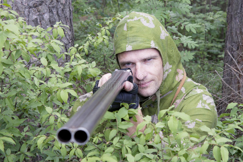 Download The shooter in camouflage stock image. Image of shoot - 20131161