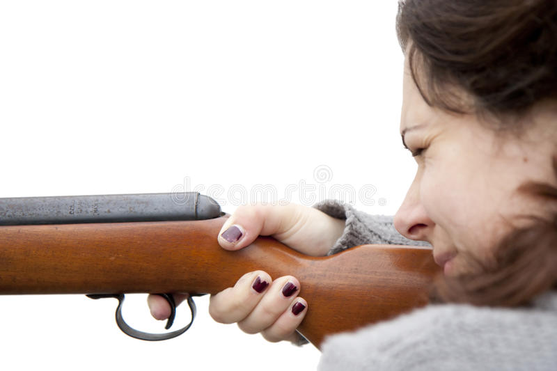 Download Shooting with air gun stock image. Image of woman, point - 16858965