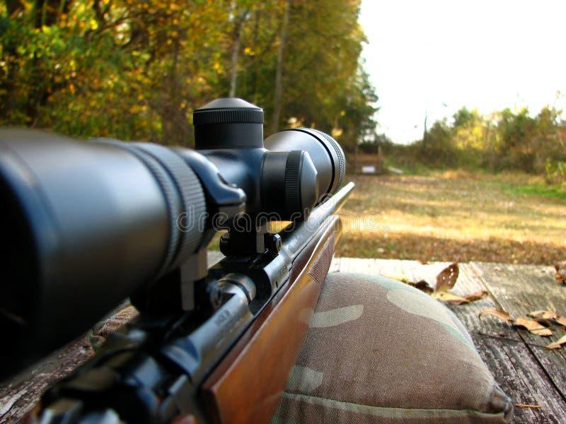 Shooting Bench And Gun Royalty Free Stock Image