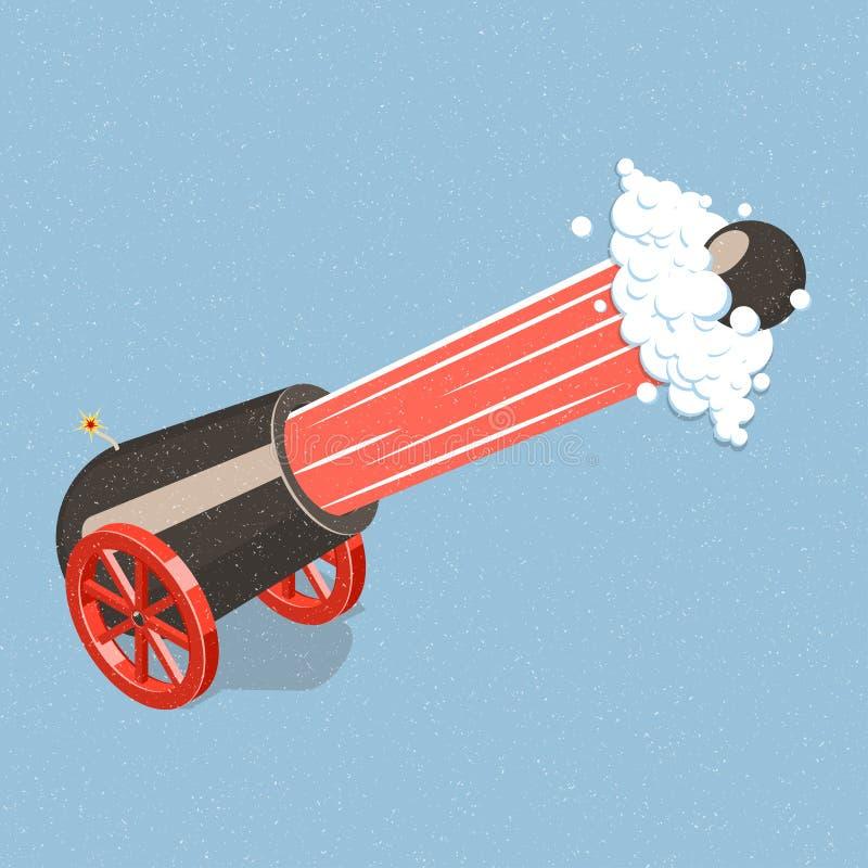 Shooting cannon. stock illustration