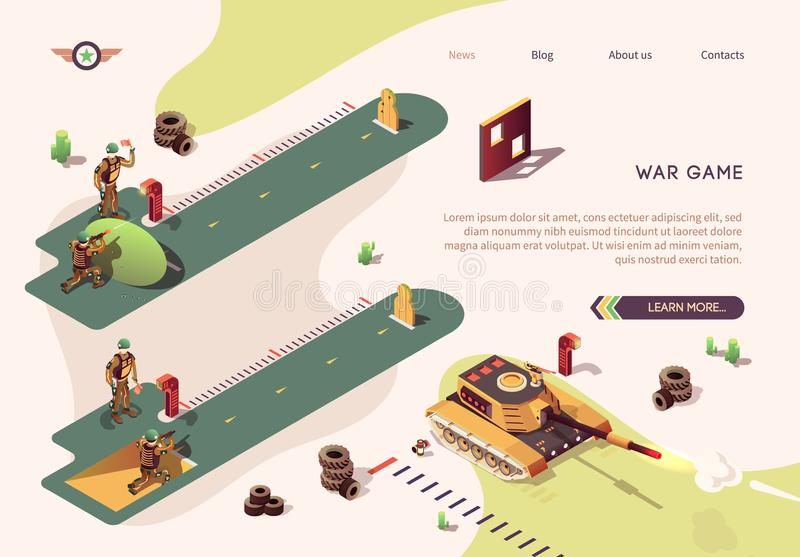 Shooting Competition in War Game Isometric Banner. Shooting Competition in War Game Isometric Text Banner. Vector Shooter Action Illustration with Firing Butts vector illustration