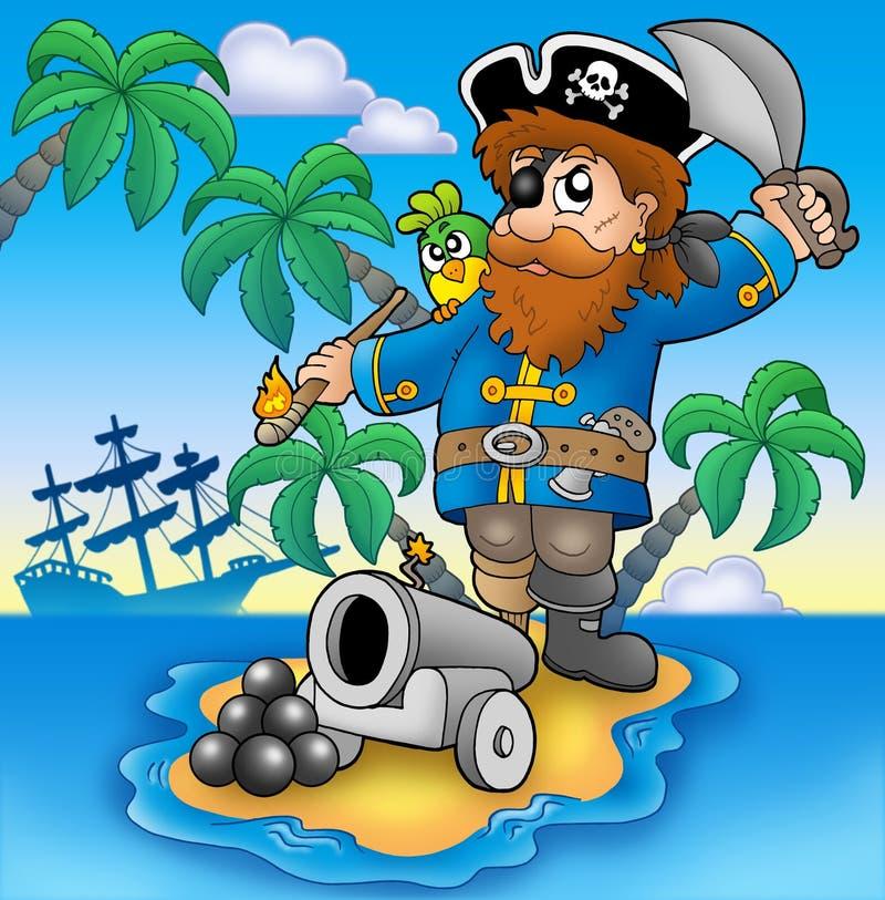Shooting del pirata del cañón ilustración del vector