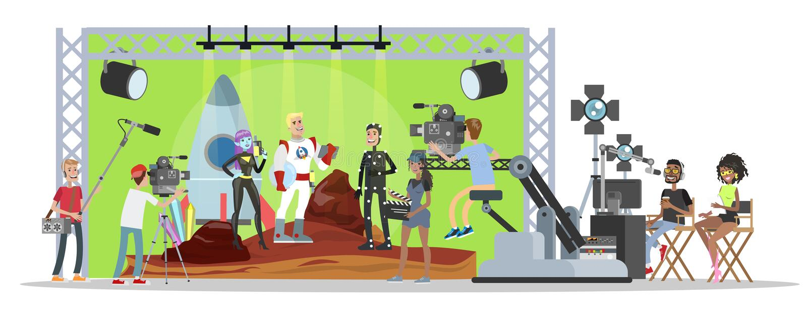 Shooting fantastic movie with captain of spaceship stock illustration