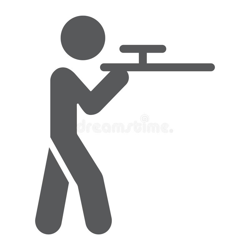 Shooting glyph icon, hunting and shotgun, man with riffle sign, vector graphics, a solid pattern on a white background. stock illustration