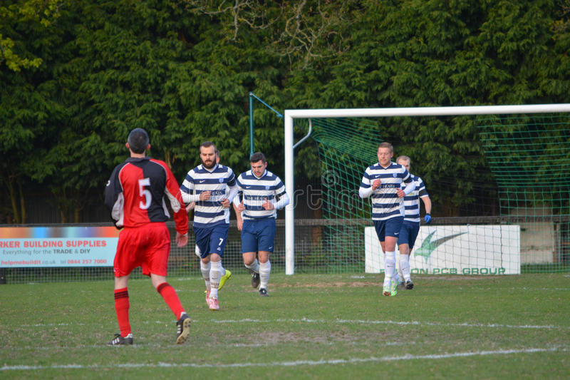 Shooting for Goal. AFC Haywards Vs Cuckfield cup final football match, `Tester Challenge Cup` at Burgess Hill Stadium, UK, 28th April 2015 stock photography