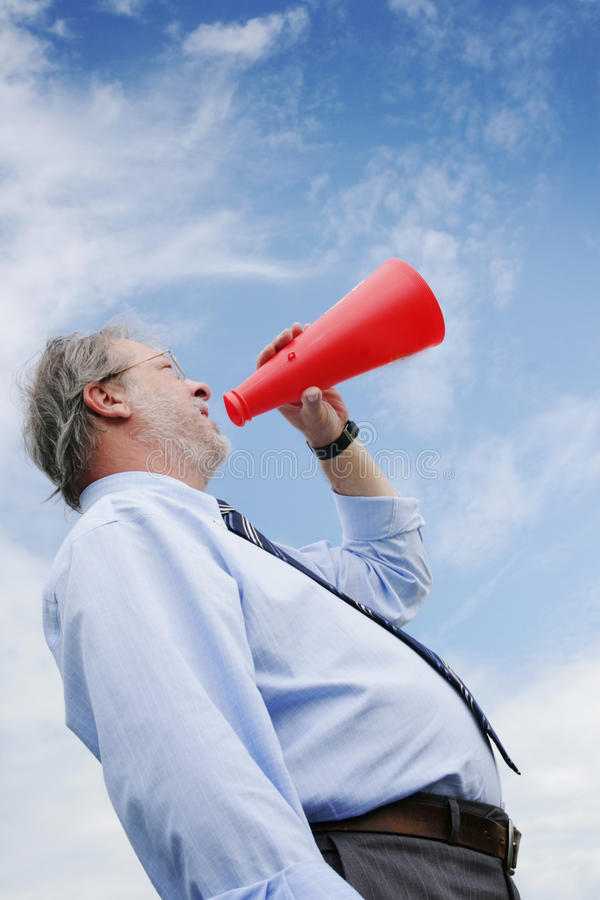 Shooting in a megaphone stock images
