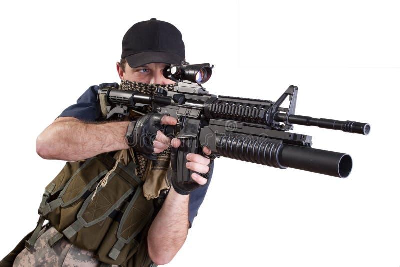 Download Shooting Mercenary Isolated Stock Photo - Image: 36568070