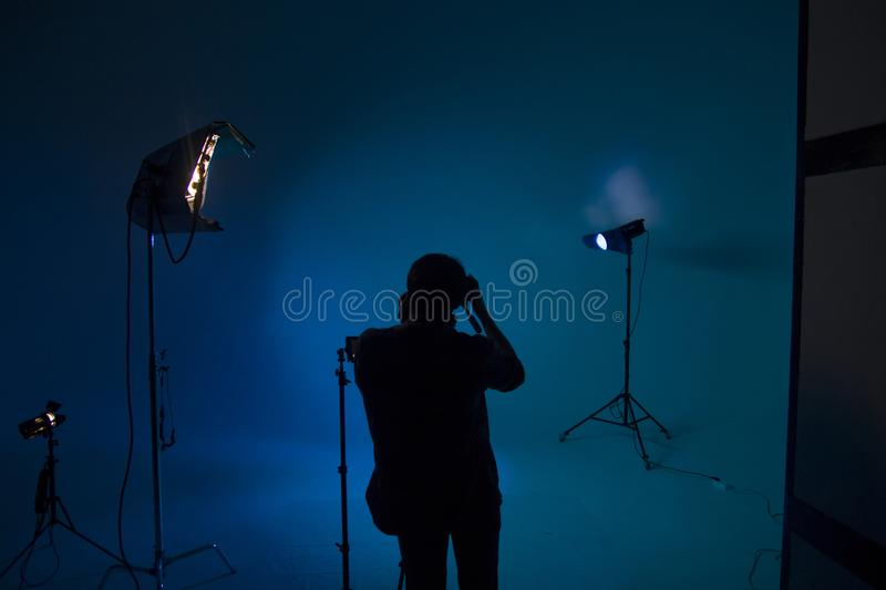 Shooting a movie, set, cameraman stock image