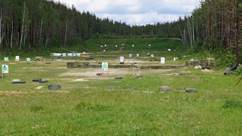 Shooting range with targets stock photo