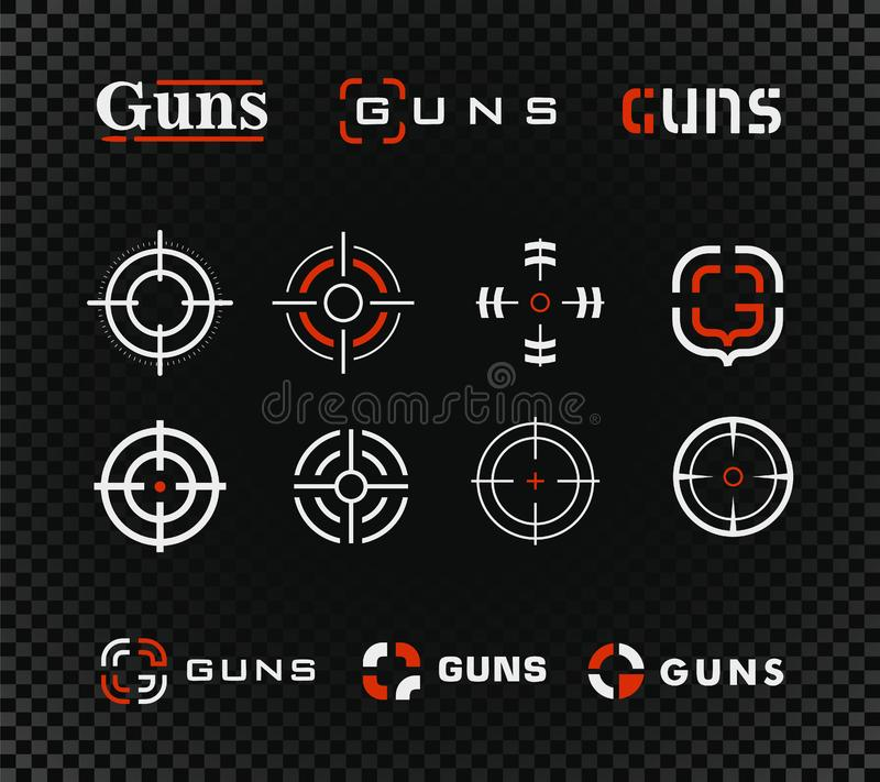 Shooting range template and icon collection. Guns or other weapon rifle sight sign set on black background. Shooting range template and icon collection. Guns or stock photos