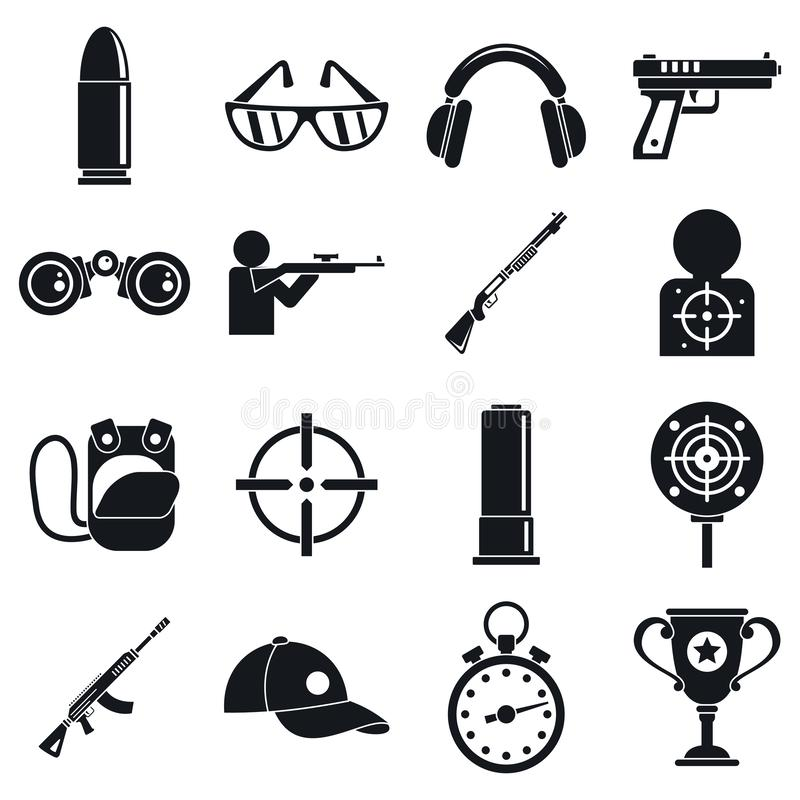 Shooting sport icons set, simple style vector illustration