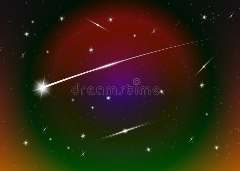 Shooting star background against dark blue starry night sky, vector illustration. Space background. Colorful galaxy with nebula vector illustration