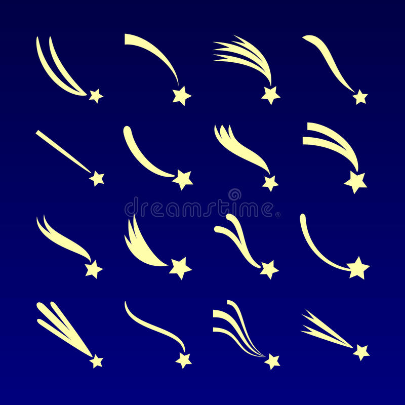 Shooting star, comet silhouettes vector icons isolated on dark blue background stock illustration