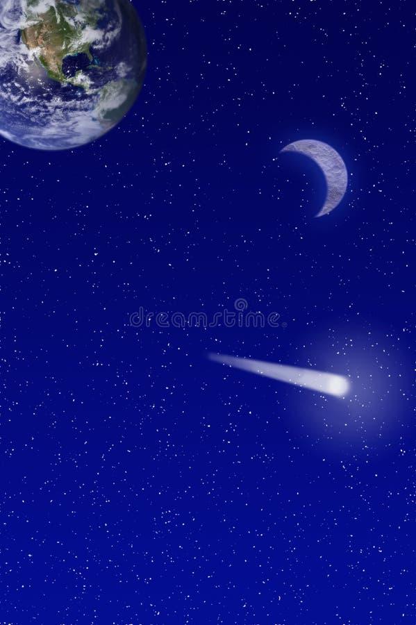 Shooting star and earth