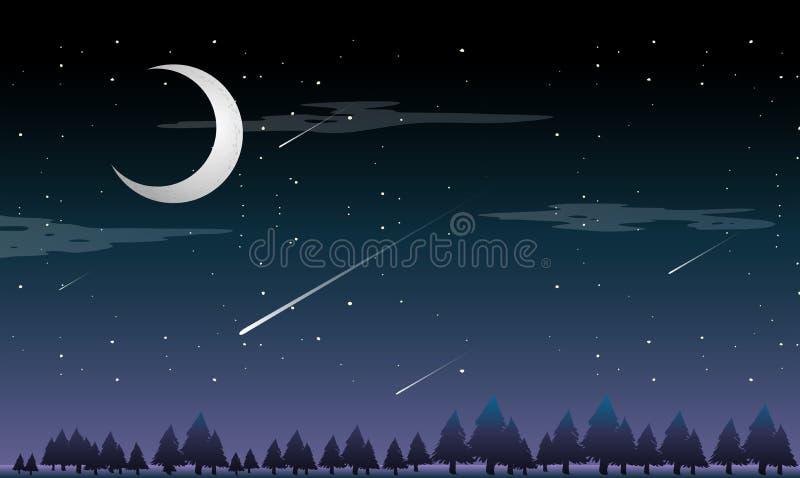 A shooting star at night. Illustration royalty free illustration