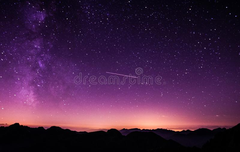 Shooting Star During Nighttime With Purple Sky Free Public Domain Cc0 Image