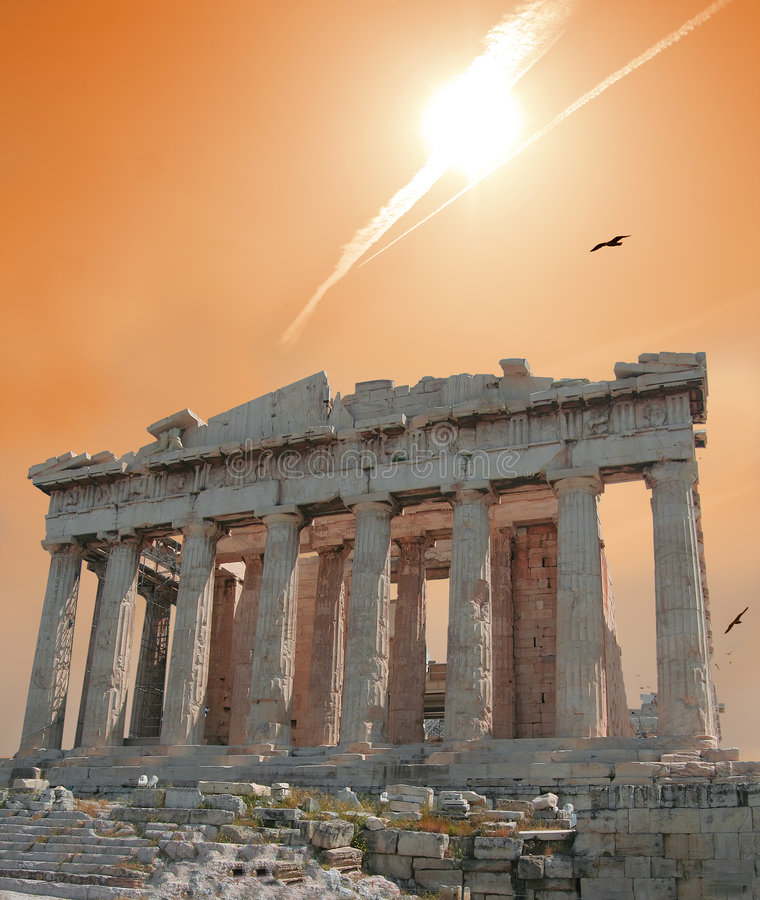 Shooting star over Acropolis stock images