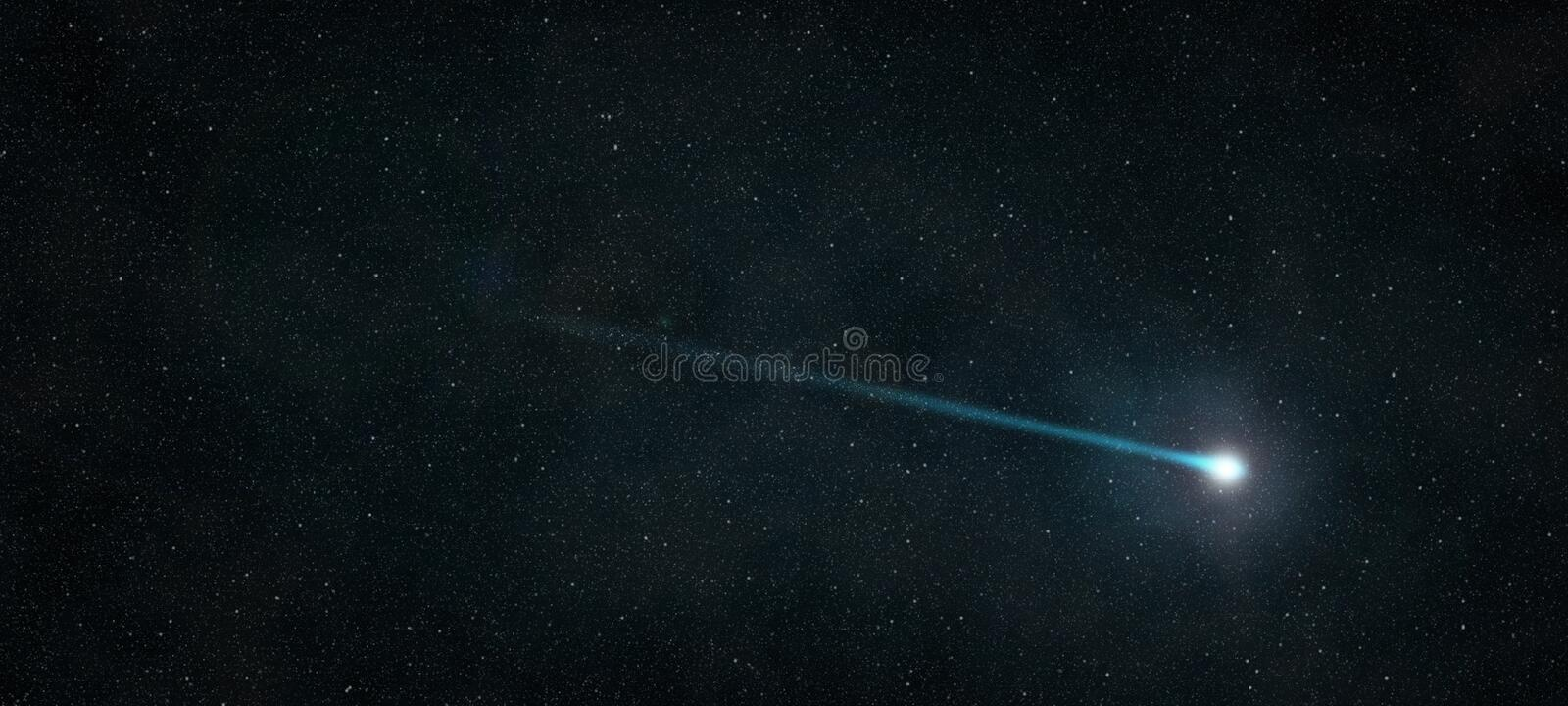 Shooting star. That shines in the starry night sky royalty free stock photos