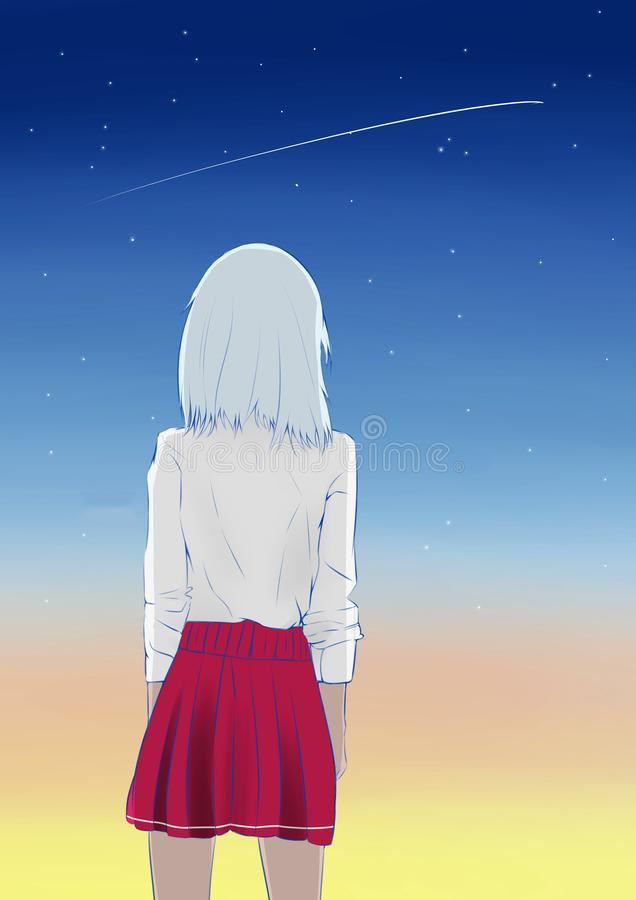 Shooting star in the sky !. Shooting star in the sky! Beautiful space vector illustration