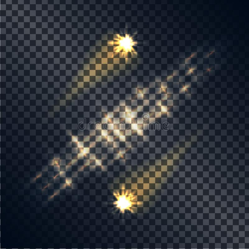 Shooting Stars avec les traces et la ligne de l'ensemble léger illustration libre de droits