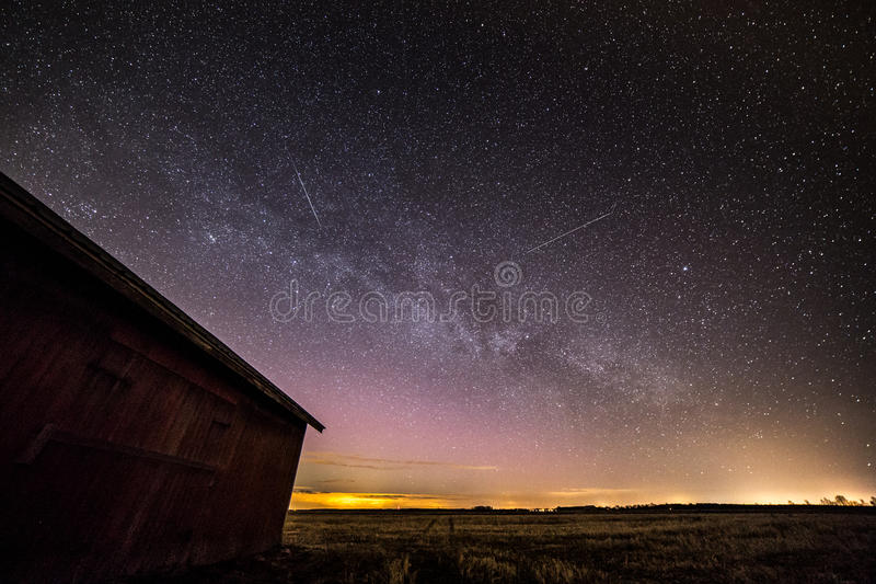 Download Shooting Stars In Countryside Stock Photo