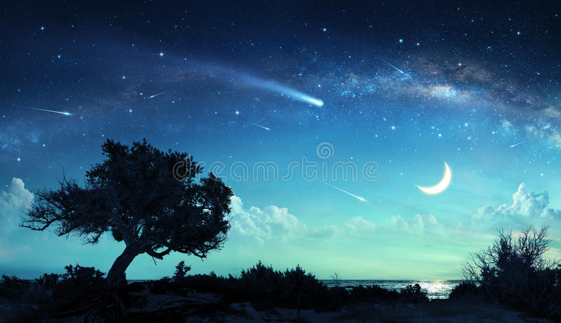 Shooting Stars In Fantasy Landscape stock photography