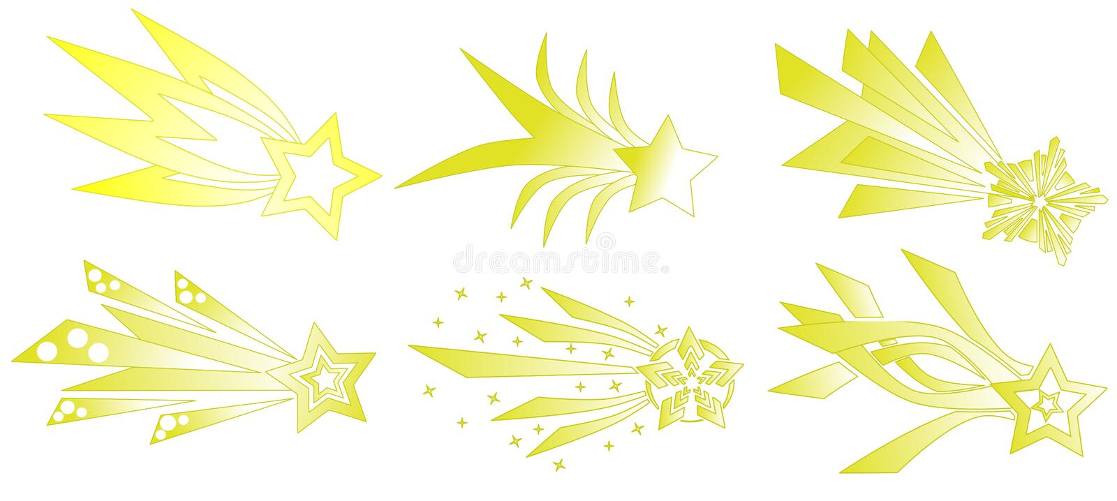 set of abstract Shooting stars isolated royalty free stock images