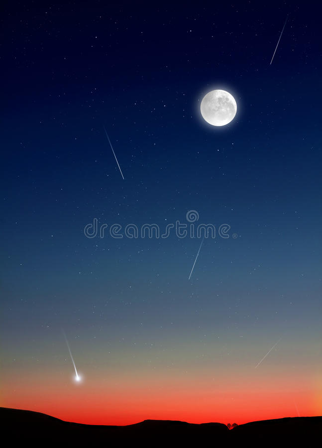 Shooting Stars no céu noturno imagem de stock royalty free