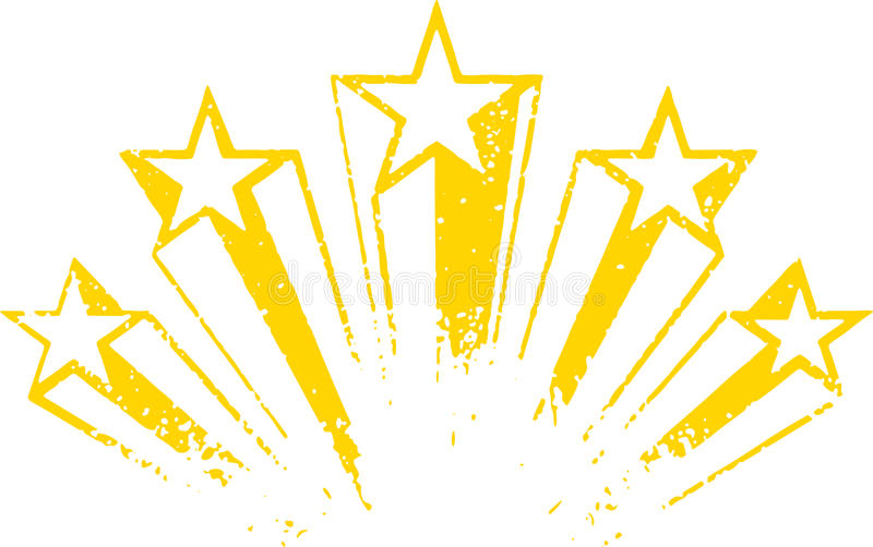 Shooting stars vector. Yellow art vector illustration