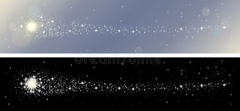 Shooting Starsbaneruppsättning royaltyfri illustrationer