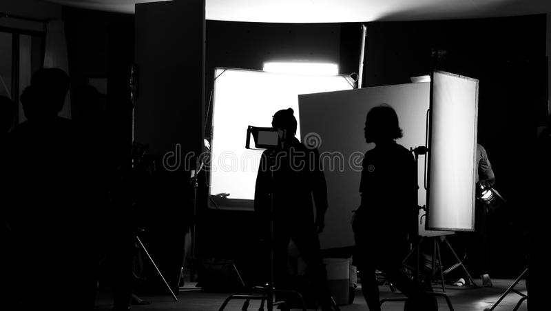 Shooting studio behind the scenes in silhouette images stock photos