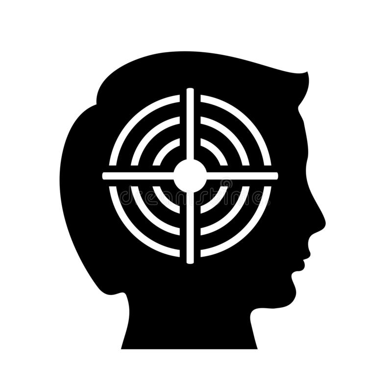 Shooting target and head silhouette royalty free illustration