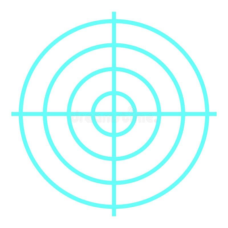 Shooting target icon, flat style royalty free illustration
