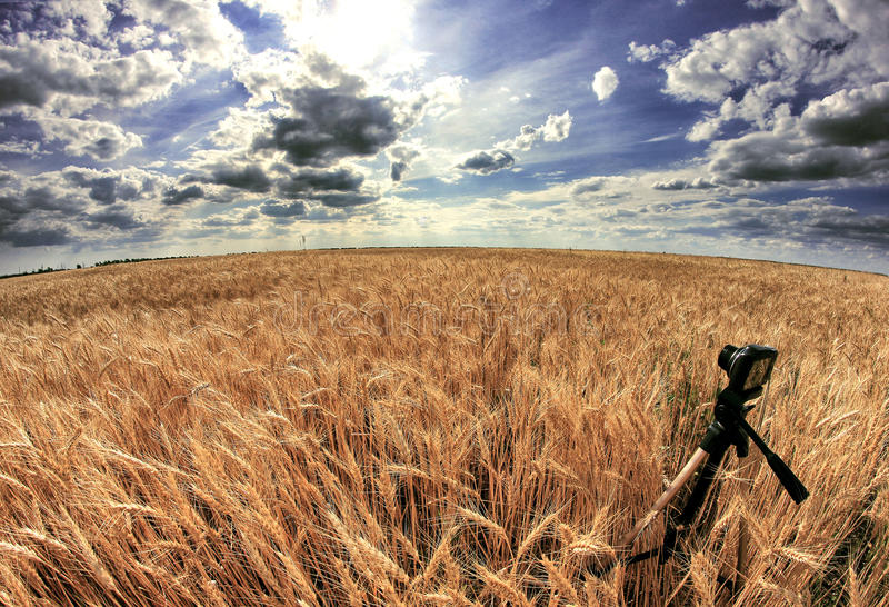 Shooting time-lapse with camera on tripod royalty free stock photos