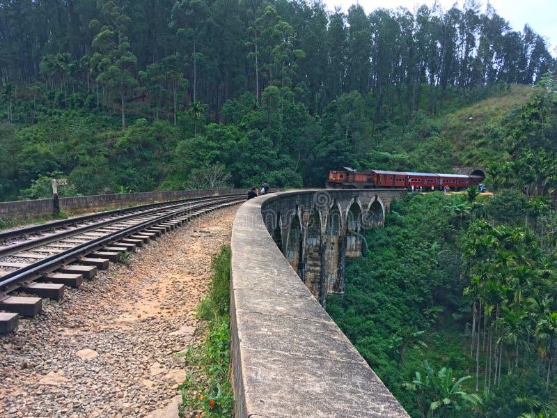 Shooting a train on Nine Arch Brige Ella Town. Sri Lanka royalty free stock image