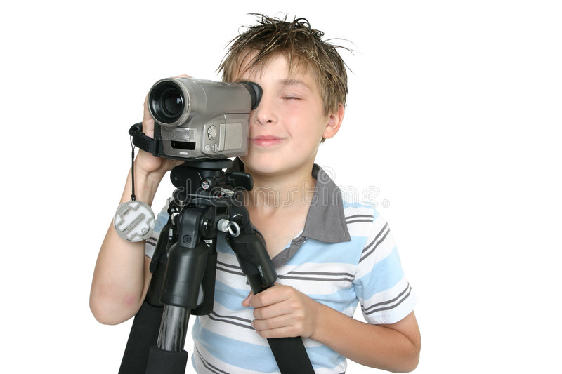 Shooting video with tripod stock photo