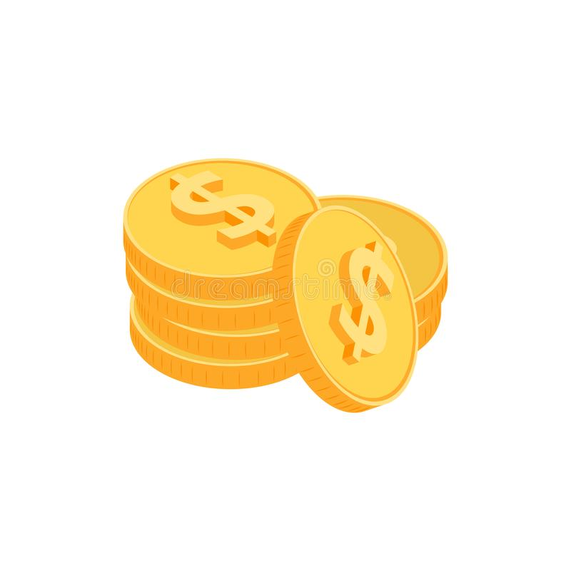 Gold coins isometric stock illustration