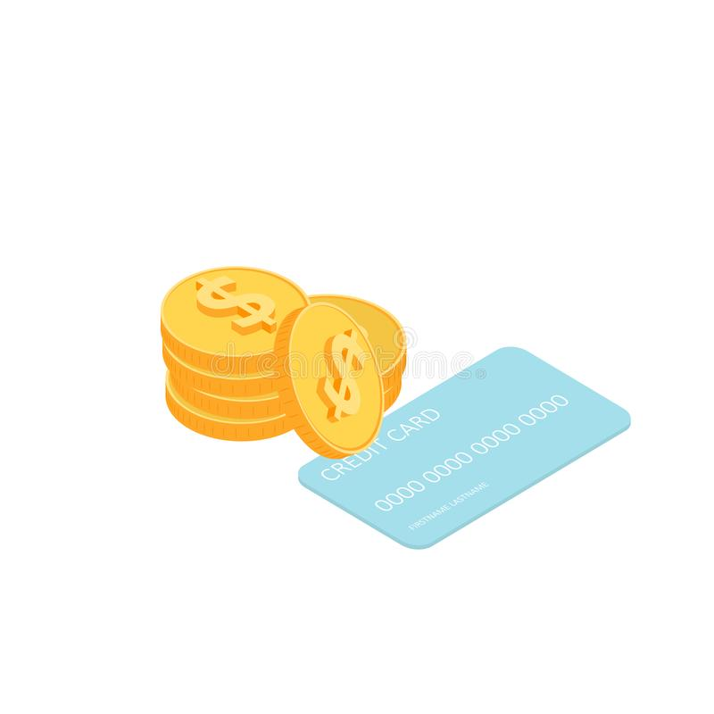 Gold coins and credit card. vector illustration
