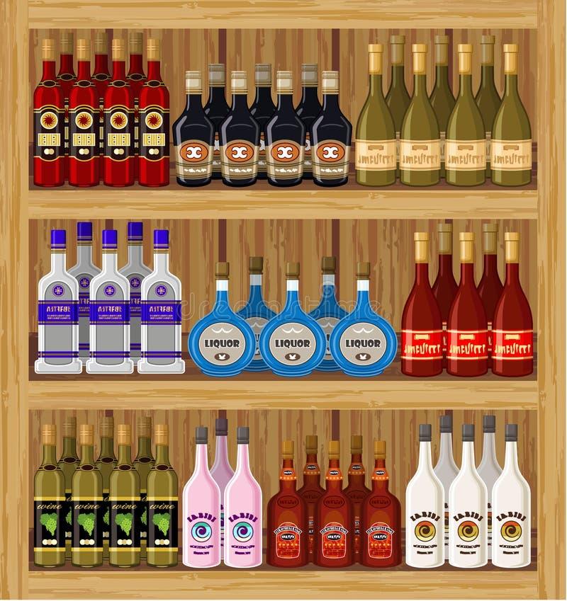 Shop alcoholic beverages. vector illustration