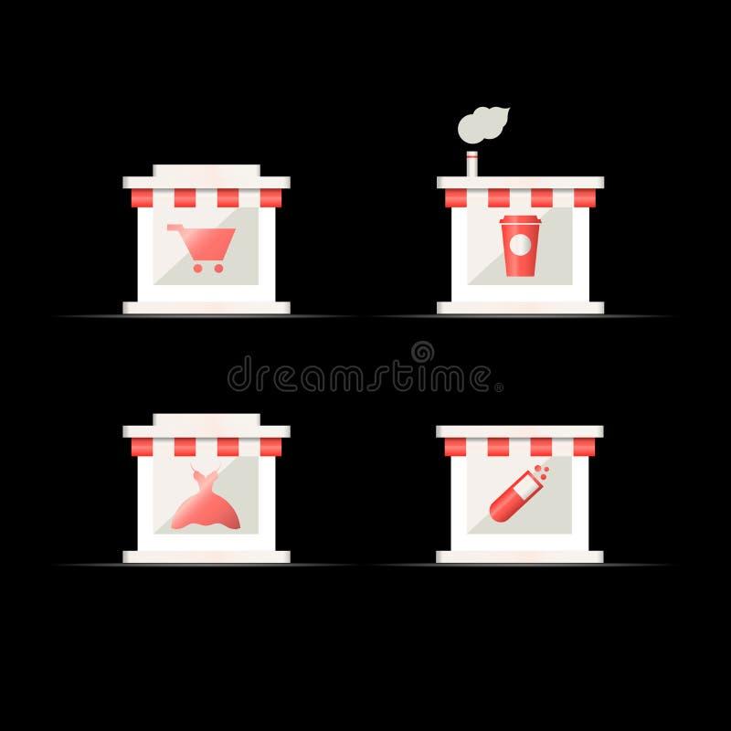 Shop, Apotheke und Café Vektor-Ikone der Wirtschaftsgeographie-3d, Karten-Navigations-Element Vektorhintergrund für Ihren Entwurf lizenzfreie abbildung