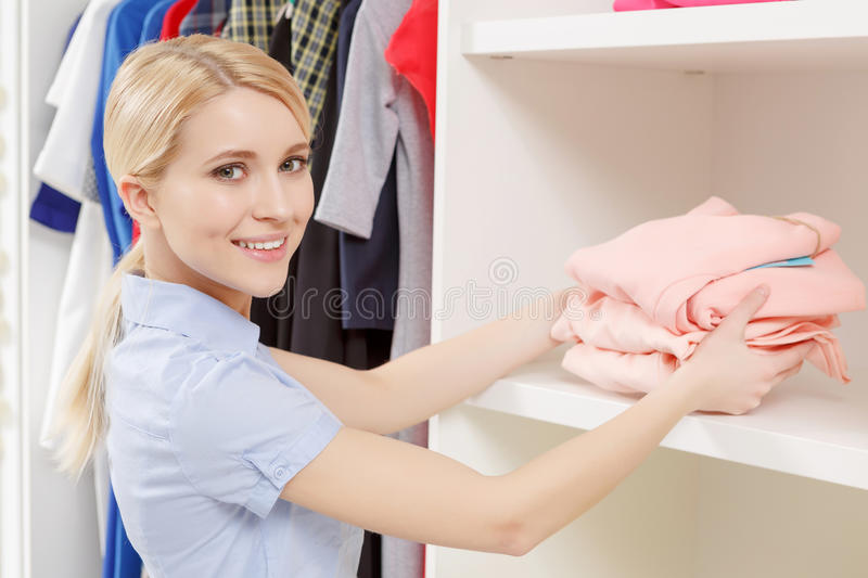 Shop assistant in a store stock image