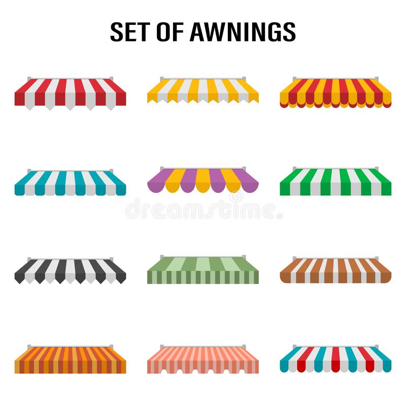 Shop awning tents for window. Outdoor market canopy, vintage store roof. Vector illustration royalty free stock image