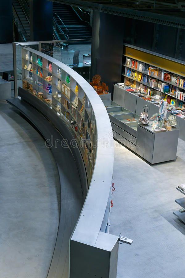 Shop bookstore at the new cultural center of the Isla de la Cartuja. Seville, Spain. Seville, Spain - April 02, 2017: Shop bookstore at the new cultural center royalty free stock photo