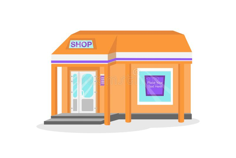 Shop building. Bright illustration of shop building showm main facade with roof and banner `shop`, entrance door with two pillars and display window with banner royalty free illustration