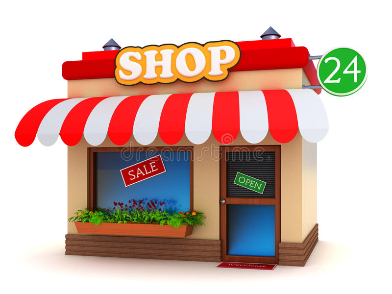 Shop building. Colorful shop building isolated on white royalty free illustration