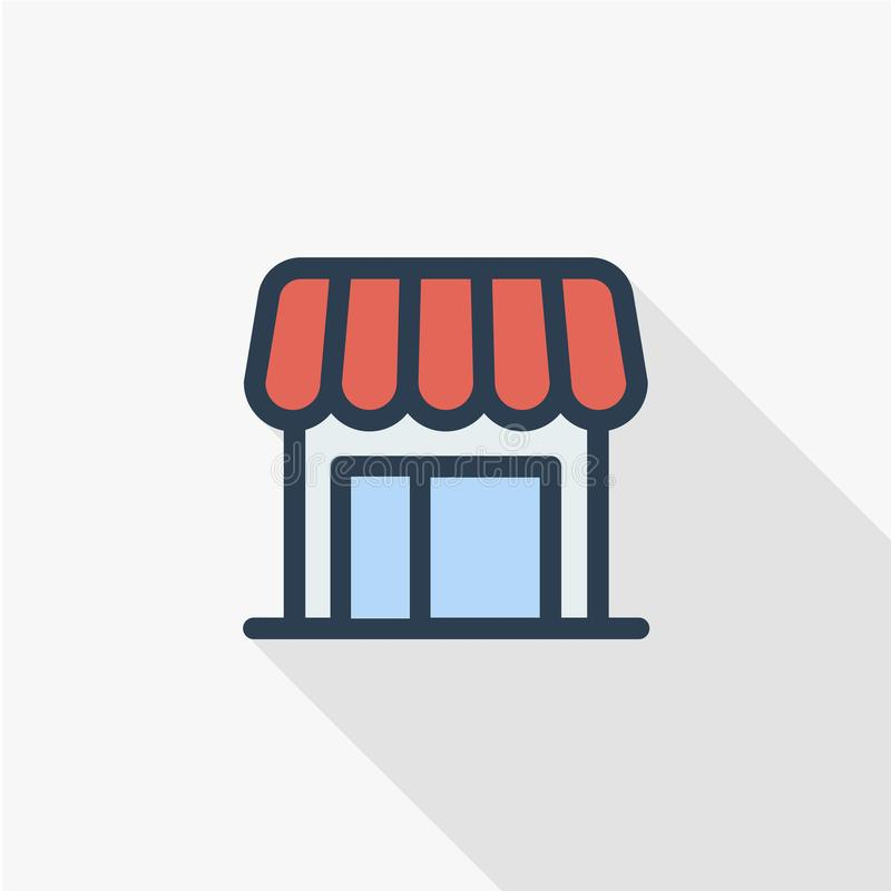 Shop building thin line flat color icon. Linear vector symbol. Colorful long shadow design. stock illustration