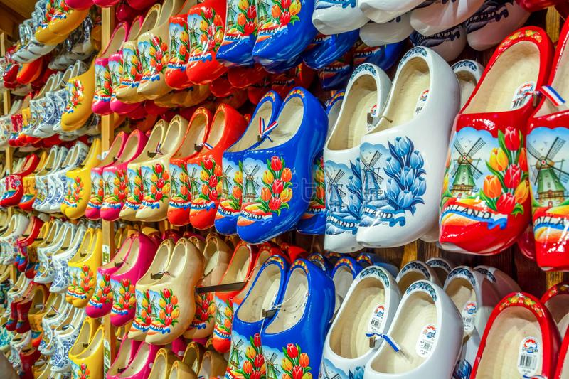 A shop for buying famous traditional Dutch wooden shoes klompen stock photography